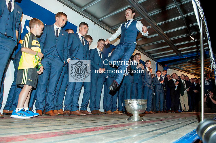 Kerry minor Tomas O&quot;Se dances of the Tommy Markum Cup as the team celebrates in Killarney on Monday night.<br /> Picture by Don MacMonagle