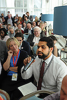 Labour Party Annual Conference<br /> Brighton<br /> 27-30 September<br /> Fringe meeting 'Backing the working class and beyond: How can we get a parliament that looks like us?' organised by Labour List and UNITE trade union.<br /> A member of the audience puts a question to the panel.
