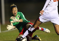 COLLEGE PARK, MARYLAND - April 03, 2013:  Chantel Jones (18) of The Washington Spirit makes a save against the University of Maryland women's soccer team in a NWSL (National Women's Soccer League) pre season exhibition game at Ludwig Field in College Park Maryland on April 03. Maryland won 2-0.