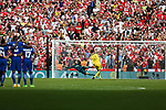 Thibaut Courtois (GK) of Chelsea misses his penalty against Petr Cech of Arsenal during the The FA Community Shield match at Wembley Stadium, London. Picture date 6th August 2017. Picture credit should read: Charlie Forgham-Bailey/Sportimage