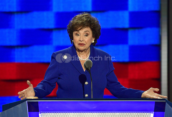 United States Representative Nita Lowey (Democrat of New York) makes remarks at the 2016 Democratic National Convention at the Wells Fargo Center in Philadelphia, Pennsylvania on Monday, July 25, 2016.<br /> Credit: Ron Sachs / CNP/MediaPunch<br /> (RESTRICTION: NO New York or New Jersey Newspapers or newspapers within a 75 mile radius of New York City)
