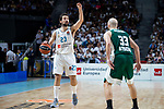 Real Madrid Sergio Llull and Panathinaikos Nick Calathes during Turkish Airlines Euroleague Quarter Finals 3rd match between Real Madrid and Panathinaikos at Wizink Center in Madrid, Spain. April 25, 2018. (ALTERPHOTOS/Borja B.Hojas)