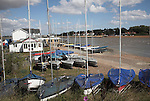 Sailing club dinghy park. Small fishing and sailing hamlet of Felixstowe Ferry at the mouth of the River Deben, Suffolk, England