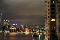 A view of Kowloon across Hong Kong harbour from Causeway Bay, Hong Kong..