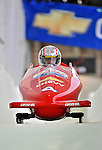 5 January 2008: NHRA Top Fuel competitor Morgan Lucas heads down the Chicane straightaway at the NASCAR vs NHRA Bobsled Elimination Challenge at the Olympic Sports Complex on Mount Van Hoevenberg, in Lake Placid, New York. ..Mandatory Photo Credit: Ed Wolfstein Photo