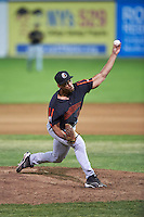Aberdeen Ironbirds relief pitcher Xavier Borde (30) delivers a pitch during a game against the Batavia Muckdogs on July 16, 2016 at Dwyer Stadium in Batavia, New York.  Aberdeen defeated Batavia 9-0. (Mike Janes/Four Seam Images)