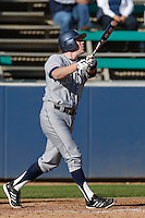 Connor Spencer #33 of the UC Irvine Anteaters bats against the Loyola Marymount Lions at Page Field on February 26, 2013 in Los Angeles, California. (Larry Goren/Four Seam Images)