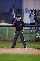 1B umpire Ty Johnson at Lindquist Field on September 14, 2017 in Ogden, Utah. The Ogden Raptors defeated the Great Falls Voyagers 7-4 in Game One of the Pioneer League Championship. (Stephen Smith/Four Seam Images)