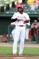 Peoria Chiefs outfielder C.J. McElroy (3) at bat during a game against the Kane County Cougars on June 2, 2014 at Dozer Park in Peoria, Illinois.  Peoria defeated Kane County 5-3.  (Mike Janes/Four Seam Images)