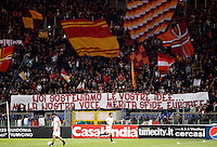 "Calcio, Serie A: Roma-Genoa. Roma, stadio Olimpico, 19 marzo 2012..Football, Italian serie A: AS Roma vs Genoa. Rome, Olympic stadium, 19 march 2012..AS Roma fans show a banner reading ""We support your ideas but our voice deserves european challenges""..UPDATE IMAGES PRESS/Riccardo De Luca"