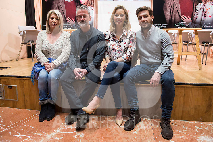 "Maribel Luis, Sergio Otegui, Kira Miro and Raul Tejon during the presentation of the theater play ""El Hombre Duplicado"" , based in the book of Jose Saramago at SGAE in Madrid, Spain. December 12, 2016. (ALTERPHOTOS/BorjaB.Hojas)"
