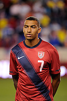 Danny Williams (7) of the United States. The men's national team of the United States (USA) was defeated by Ecuador (ECU) 1-0 during an international friendly at Red Bull Arena in Harrison, NJ, on October 11, 2011.