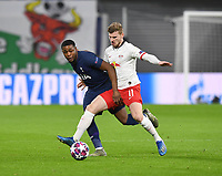10th March 2020, Red Bull Arena, Leipzig, Germany; EUFA Champions League, RB Leipzig v Tottenham Hotspur; Japhet Tanganga challenged by Timo Werner RB Leipzig