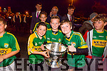 The Home Coming -The  kerry Minor Team are Welcomed back to Dingle on Tuesday Pictured  Aaron Hughes, Alabhaois O Gráinne and Fergal Smith with the Tom Markham Cup