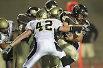 Torrance, CA 11/05/10 - Haden Gregory (Peninsula #42) and Ricky Sato (West # 25) in action during the Peninsula vs West varsity football game played at West Torrance high school.