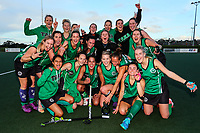 Takapuna celebrate. Action during the Auckland Intercity Women's final hockey match between Takapuna and Somerville, North Harbour Hockey, Auckland, New Zealand. Saturday 19 August 2017. Photo:Simon Watts / www.bwmedia.co.nz