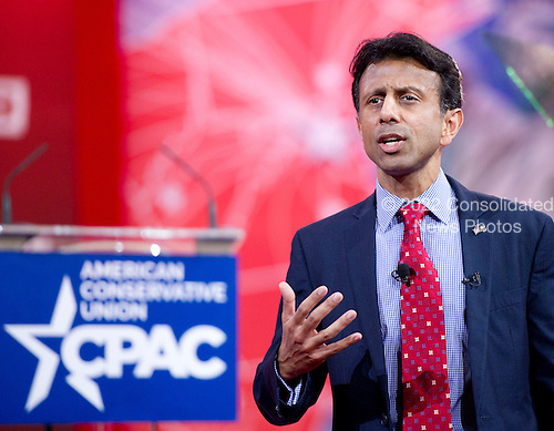 Governor Bobby Jindal (Republican of Louisiana) speaks at the Conservative Political Action Conference (CPAC) at the Gaylord National at National Harbor, Maryland on Thursday, February 26, 2015.<br /> Credit: Ron Sachs / CNP