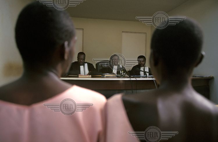 ©Paul Lowe/Panos Pictures..Kigali, RWANDA  4/1995..Judges at the initial hearing of eight Hutus accused of genocide against the Tutsis.
