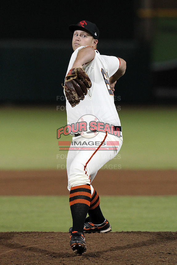 Scottsdale Scorpions pitcher Seth Rosin #68 during an Arizona Fall League game against the Surprise Saguaros at Scottsdale Stadium on November 2, 2011 in Scottsdale, Arizona.  Surprise defeated Scottsdale 5-4.  (Mike Janes/Four Seam Images)