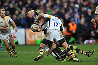Francois Louw of Bath Rugby takes on the Wasps defence. Aviva Premiership match, between Bath Rugby and Wasps on February 20, 2016 at the Recreation Ground in Bath, England. Photo by: Patrick Khachfe / Onside Images