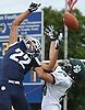 Curtis Lafond #22 of Northport, left, breaks up pass intended for Dilon Smith #20 of Lindenhurst during a Suffolk County Division I varsity football game at Glenn High School on Saturday, Sept. 2, 2017.