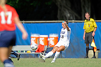 2 October 2011:  FIU midfielder Victoria Miliucci (18) passes the ball in the second half as the FIU Golden Panthers defeated the University of South Alabama Jaguars, 2-0, at University Park Stadium in Miami, Florida.