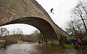 01/01/15<br /> <br /> Despite organisers cancelling this year's bridge jump, until warmer weather arrives at Easter, a hardy bunch of rebel jumpers leapt from the bridge at Mappleton, Derbyshire, into the river Dove to mark 30 years of the New Year's Day jump.<br /> <br /> All Rights Reserved - F Stop Press. www.fstoppress.com. Tel: +44 (0)1335 300098