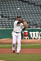 Luis Jimenez (7) of the Salt Lake Bees during the game against the Sacramento River Cats at Smith's Ballpark on April 3, 2014 in Salt Lake City, Utah.  (Stephen Smith/Four Seam Images)