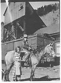 Horse &amp; rider near RGS Ophir depot.<br /> RGS  Ophir, CO
