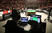 3rd February 2019, Berlin, Germany; Snooker Berlin German Masters in Tempodrom;  Referee Marker watches the Monitor, during the Final Kyren Wilson, David Gilbert