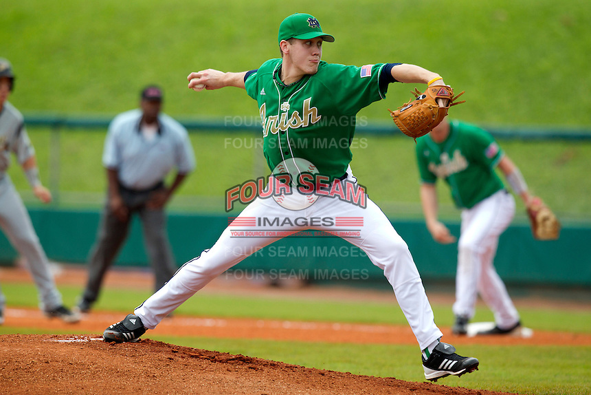 Notre Dame Fighting Irish pitcher Will Hudgins #45 delivers a pitch during a game against the Purdue Boilermakers at the Big Ten/Big East Challenge at Al Lang Stadium on February 19, 2012 in St. Petersburg, Florida.  (Mike Janes/Four Seam Images)