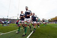 The Benetton Rugby team leave the field after the pre-match warm-up. European Rugby Champions Cup match, between Bath Rugby and Benetton Rugby on October 14, 2017 at the Recreation Ground in Bath, England. Photo by: Patrick Khachfe / Onside Images