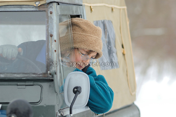 Germany, Land Rover Classic Club 2005. Victoria Meißner in her Land Rover Series 2. --- No releases available. Automotive trademarks are the property of the trademark holder, authorization may be needed for some uses.