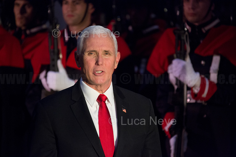 The Vice President of the United States of America, Mike Pence. <br /> <br /> Rome, 24/01/2020. Today, Mike Pence, Vice President of the United States of America (Member of the Republican Party, supporter of the Tea Party Movement, and former Governor of Indiana), visited Palazzo Chigi where he met with the Italian Prime Minister Giuseppe Conte.