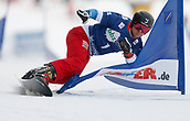 18th March 2018, Winterberg, Germany;  Snowboard World Cup, team parallel slalom. Nevin Galmarini of Switzerland comes into 4th place in tam parallell