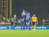 5th February 2019, Molineux Stadium, Wolverhampton, England; FA Cup football, 4th round replay, Wolverhampton Wanderers versus Shrewsbury Town; Josh Laurent of Shrewsbury Town celebrates with his team after taking the lead 1-2 in the 39th minute