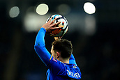 18th March 2018, King Power Stadium, Leicester, England; FA Cup football, quarter final, Leicester City versus Chelsea; Ben Chilwell of Leicester City prepares to take a throw in