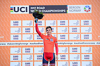 Picture by Simon Wilkinson/SWpix.com - 23/09/2017 - Cycling UCI 2017 Road World Championships Bergen Norway - Road Race <br /> Norway Team Prize and Salmon Jersey