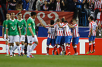 29.03.2012 MADRID, UEFA Europa League Quarter Finals match played between At. Madrid vs Hannover 96 (2-1) at Vicente Calderon stadium. the picture show Atletico de Madrid player's celebrating his team's goal