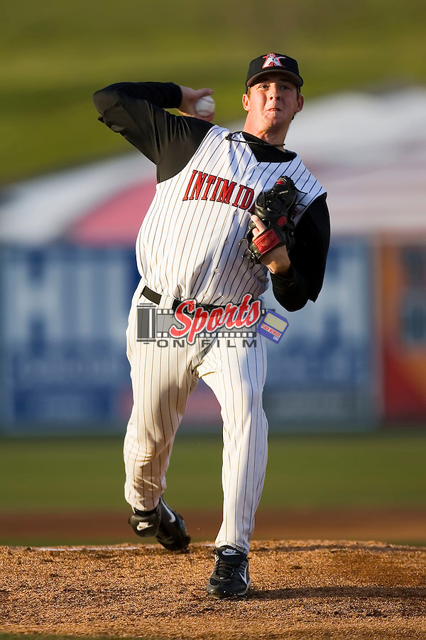 Starting pitcher Charlie Shirek (37) of the Kannapolis Intimidators in action versus the Asheville Tourists at Fieldcrest Cannon Stadium in Kannapolis, NC, Tuesday April 8, 2008.