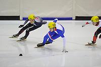 SHORTTRACK: HEERENVEEN: IJsstadion Thialf, 30-01-2015, StarClass 5 (NC-2) Europa Cup, Jeugdwedstrijd (t/m 16 jaar), Hilco HEIJNE (#134), Peter MURPHY (#127   LUX), ©foto Martin de Jong