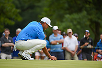 Brooks Koepka (USA) lines up his putt on 7 during Rd3 of the 2019 BMW Championship, Medinah Golf Club, Chicago, Illinois, USA. 8/17/2019.<br /> Picture Ken Murray / Golffile.ie<br /> <br /> All photo usage must carry mandatory copyright credit (© Golffile   Ken Murray)