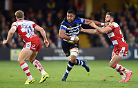 Taulupe Faletau of Bath Rugby takes on the Gloucester Rugby defence. Aviva Premiership match, between Bath Rugby and Gloucester Rugby on October 29, 2017 at the Recreation Ground in Bath, England. Photo by: Patrick Khachfe / Onside Images