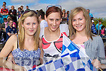 Blue and White dynamites Sinead, Tara and Caoimhe Farrell cheering on the Desmonds at the Celebrity Banisteoir match in Castleisland on Saturday.