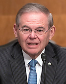 """United States Senator Robert Menendez (Democrat of New Jersey) prior to Jerome H. Powell, Chairman, Board of Governors of the Federal Reserve System giving testimony before the United States Senate Committee on Banking, Housing, and Urban Affairs on """"The Semiannual Monetary Policy Report to the Congress"""" on Capitol Hill in Washington, DC on Thursday, March 1, 2018<br /> Credit: Ron Sachs / CNP"""