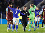 Brendan Rogers manager of Leicester City congratulates Ben Chillwell of Leicester City and Tyrone Mings of Aston Villa during the Carabao Cup match at the King Power Stadium, Leicester. Picture date: 8th January 2020. Picture credit should read: Darren Staples/Sportimage