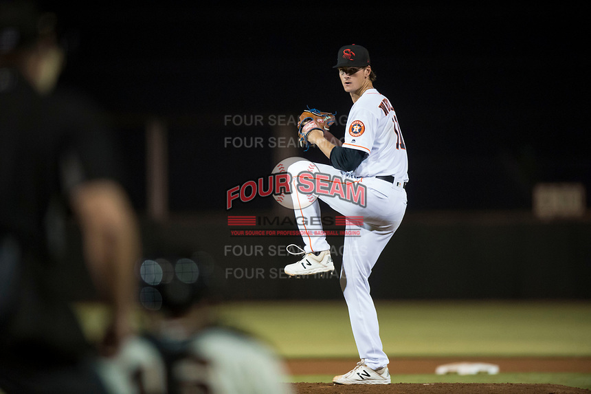 Scottsdale Scorpions starting pitcher Forrest Whitley (11), of the Houston Astros organization, delivers a pitch during an Arizona Fall League game against the Mesa Solar Sox on October 9, 2018 at Scottsdale Stadium in Scottsdale, Arizona. The Solar Sox defeated the Scorpions 4-3. (Zachary Lucy/Four Seam Images)