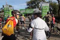 NWA Democrat-Gazette/FILE PHOTO<br /> Jennifer Mayo (left) and Sandra Pritchard, both of Fayetteville, chat Saturday Sept. 12 2-15 before the start of the Square to Square bicycle ride from Bentonville to Fayetteville. The ride covered 30 miles of the Northwest Arkansas Razorback Greenway.