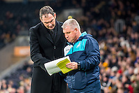 ( L-R ) Manager of Swansea City Paul Clement and Swansea City Assistant manager, Nigel Gibbs during the Emirates FA Cup Third Round match between Hull City v Swansea City at KCOM Stadium, Hull, England, UK. Saturday 07 January 2017