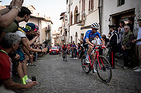 Maglia Azzurra / KOM leader Giulio Ciccone (ITA/Trek-Segafredo) up the steep, cobbled & crowded climb in Pinerolo<br /> <br /> Stage 12: Cuneo to Pinerolo (158km)<br /> 102nd Giro d'Italia 2019<br /> <br /> ©kramon